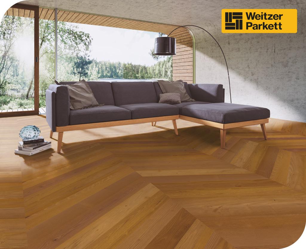 Weitzer Parkett gedämpfter lebhafter farbiger Holzboden in Wohnzimmer