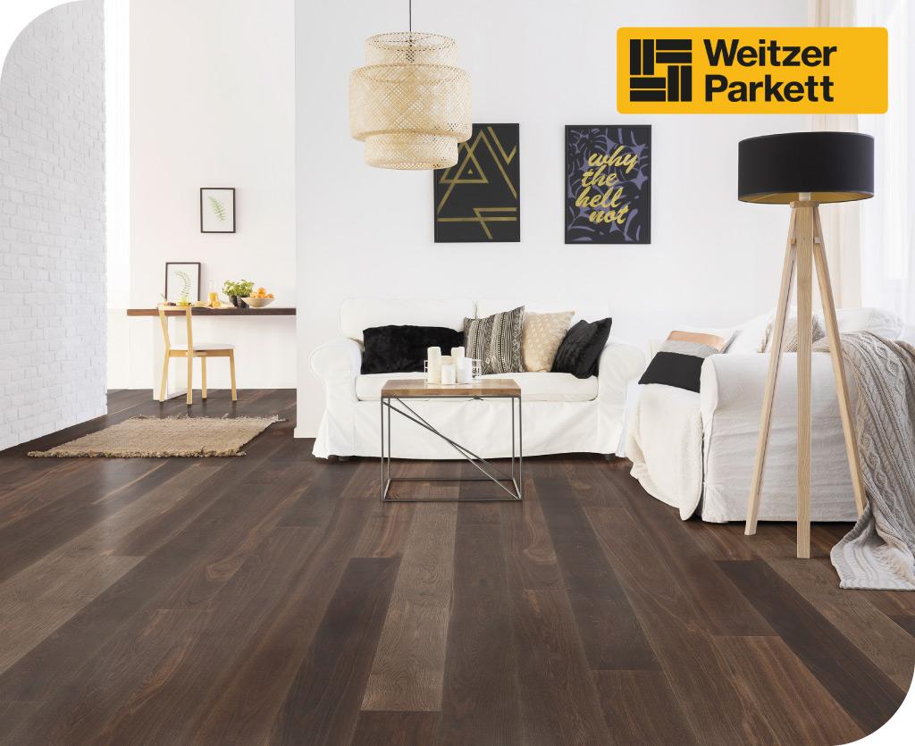 Weitzer Parkett jugendliches Wohnzimmer mit lebhaften dunklen Holzoden kerngeräuchert