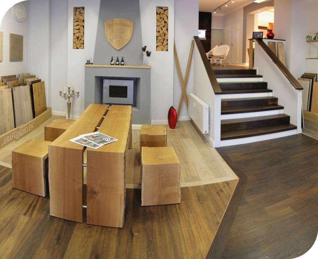 PM Parkett Design Einblick in Verkaufsraum in Hoya