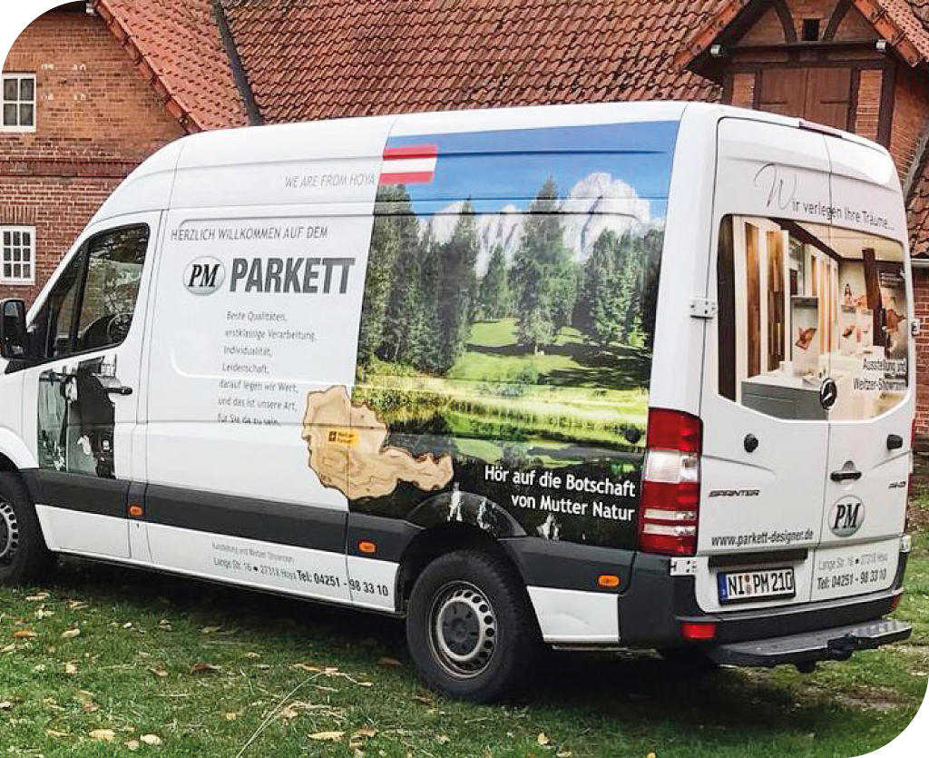 PM Parkett Design Fahrzeugbeschriftung